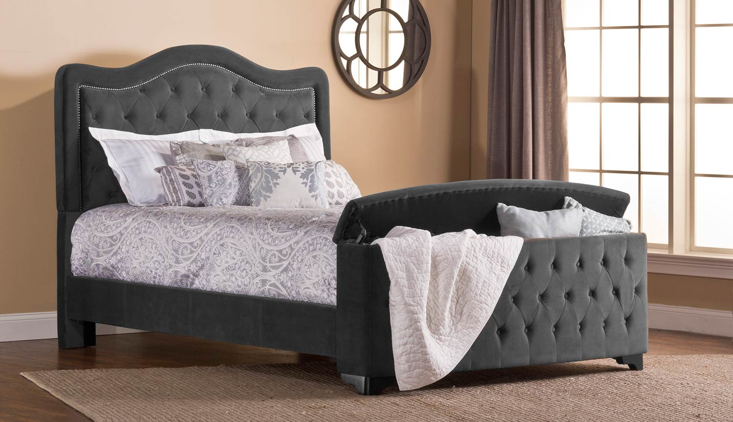 Hillsdale Trieste Tufted Upholstered Bed - Storage Footboard - Pewter