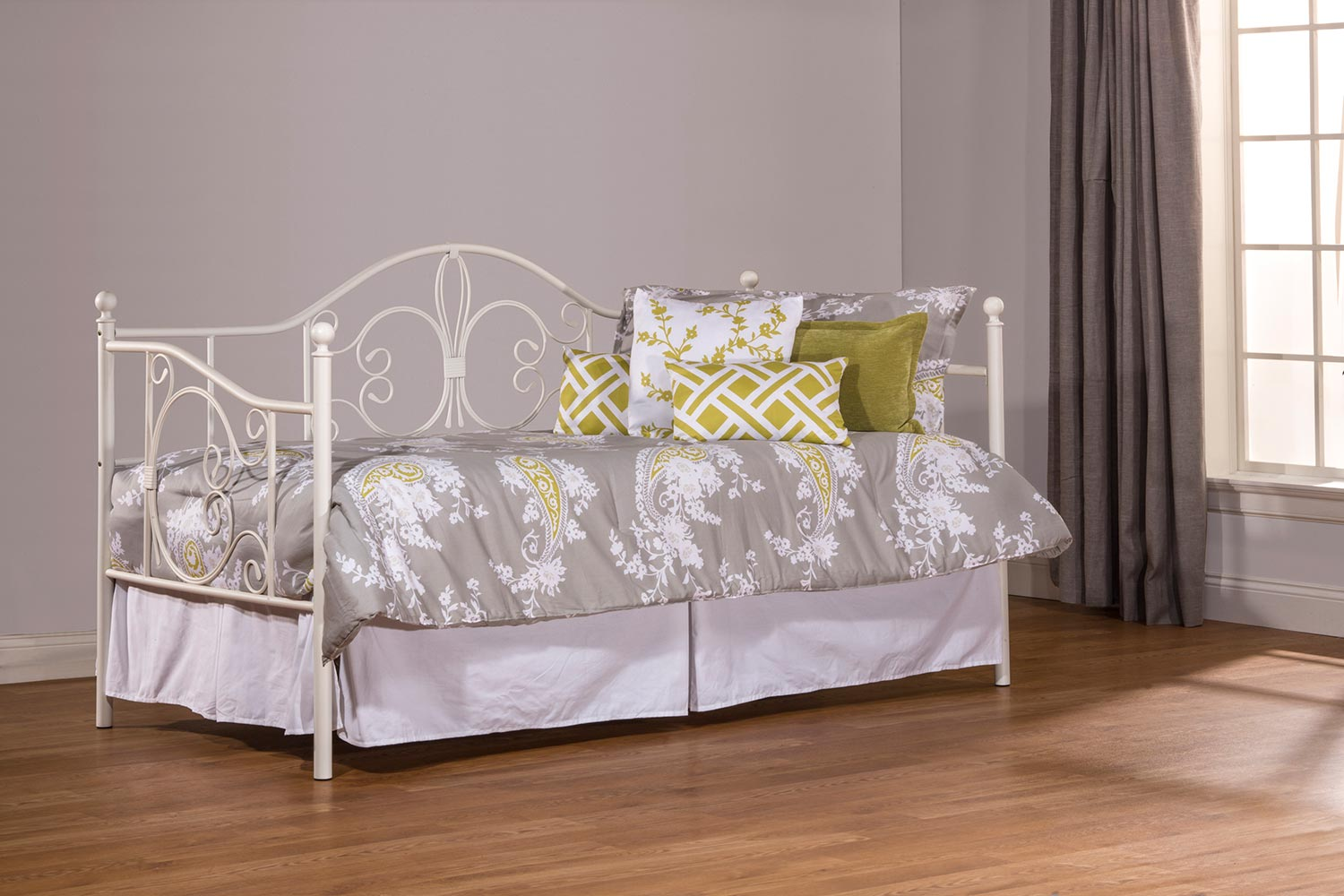 Hillsdale Ruby Daybed with Suspension Deck and Roll Out Trundle Unit - Textured White
