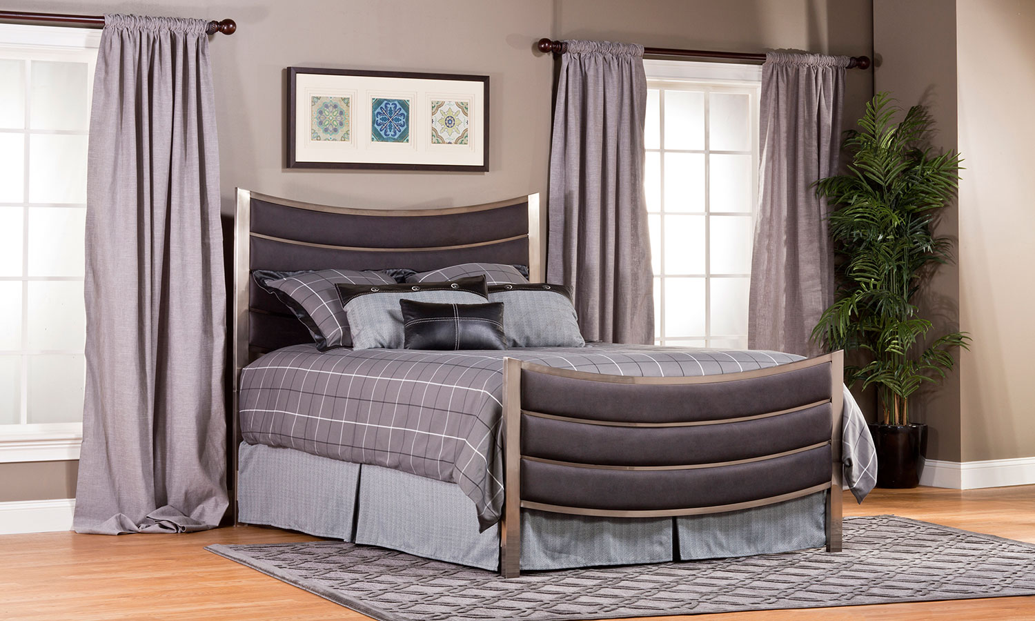 Hillsdale Montego Bed - Antique Nickel - Dusty Pebble Black