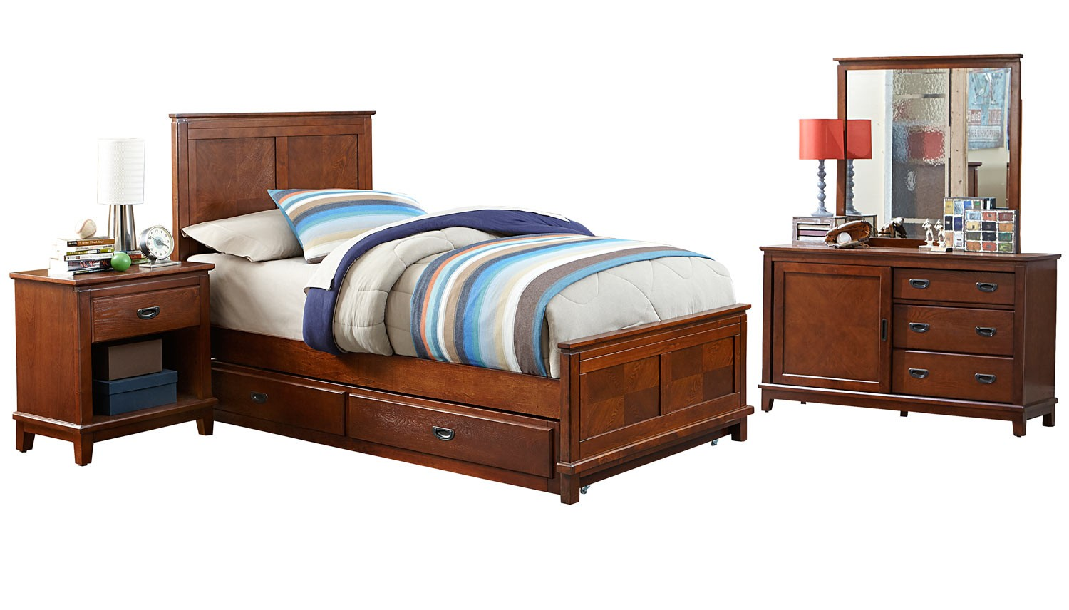 Hillsdale Bailey Panel Bedroom Set with Trundle - Mission Oak