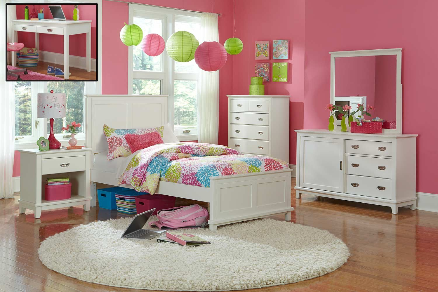 Hillsdale Bailey Panel Bedroom Set - White