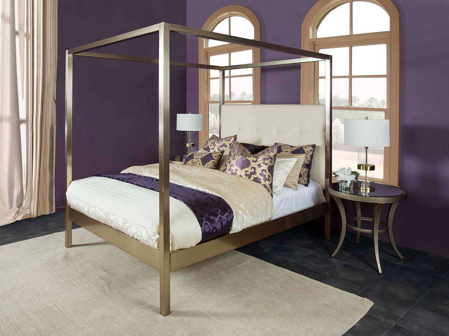 Hillsdale Avalon Upholstered Bed - Champagne Brass - Oyster Fabric