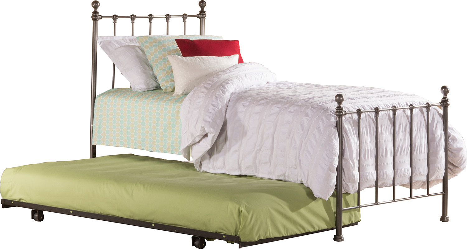 Hillsdale Molly Twin Bed with Suspension Deck and Rollout Trundle - Black Steel