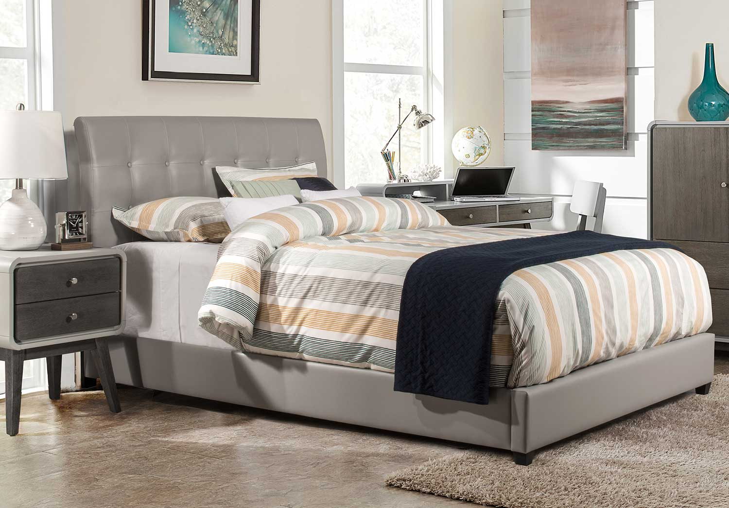 Hillsdale Lusso Bed - Gray Faux Leather