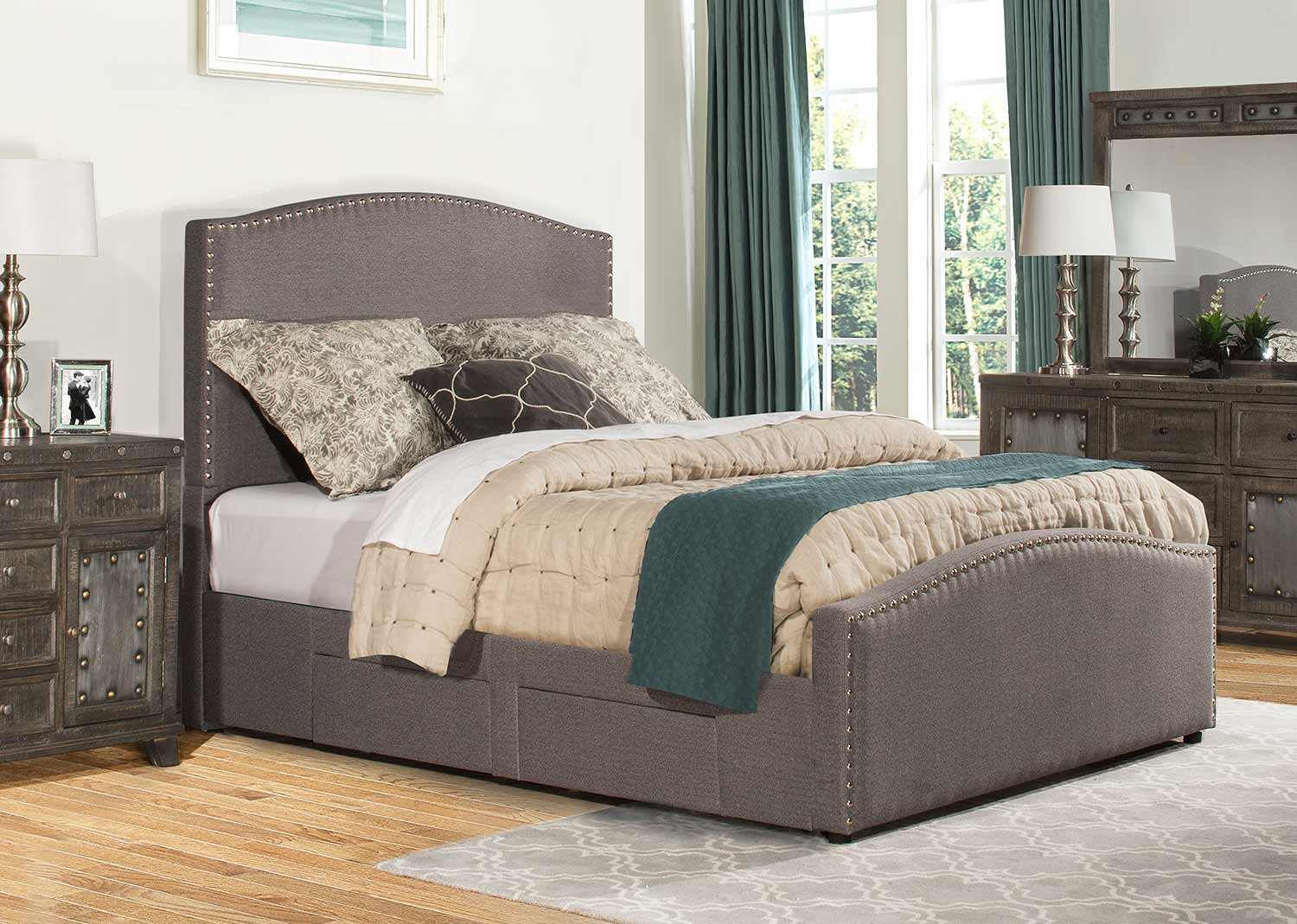 Hillsdale Kerstein Storage Bed - Orly Gray Fabric