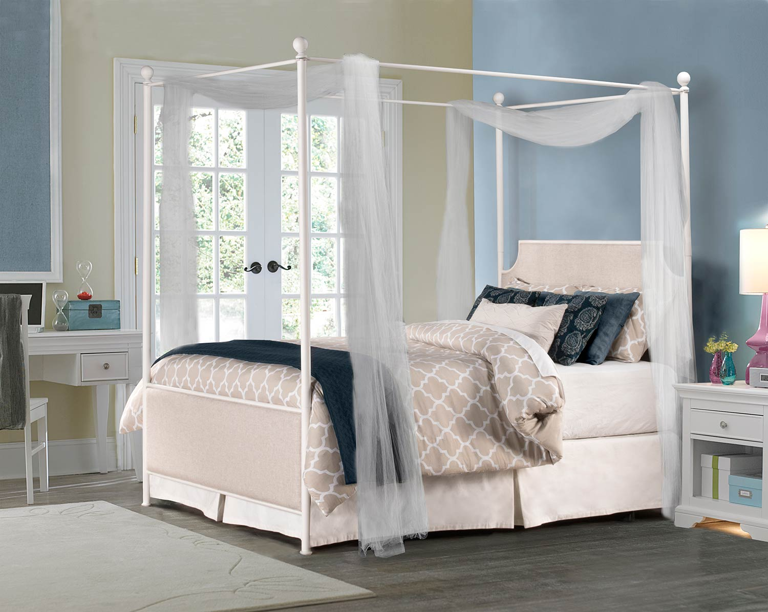 Hillsdale McArthur Canopy Bed - Off-White - Oatmeal Linen Fabric