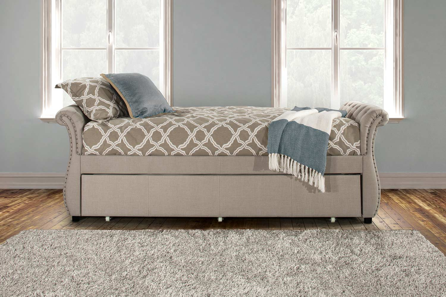 Hillsdale Hunter Backless Daybed with Trundle - Linen Sandstone