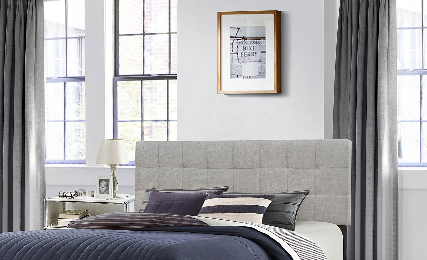 Hillsdale Delaney Headboard - Glacier Gray Fabric