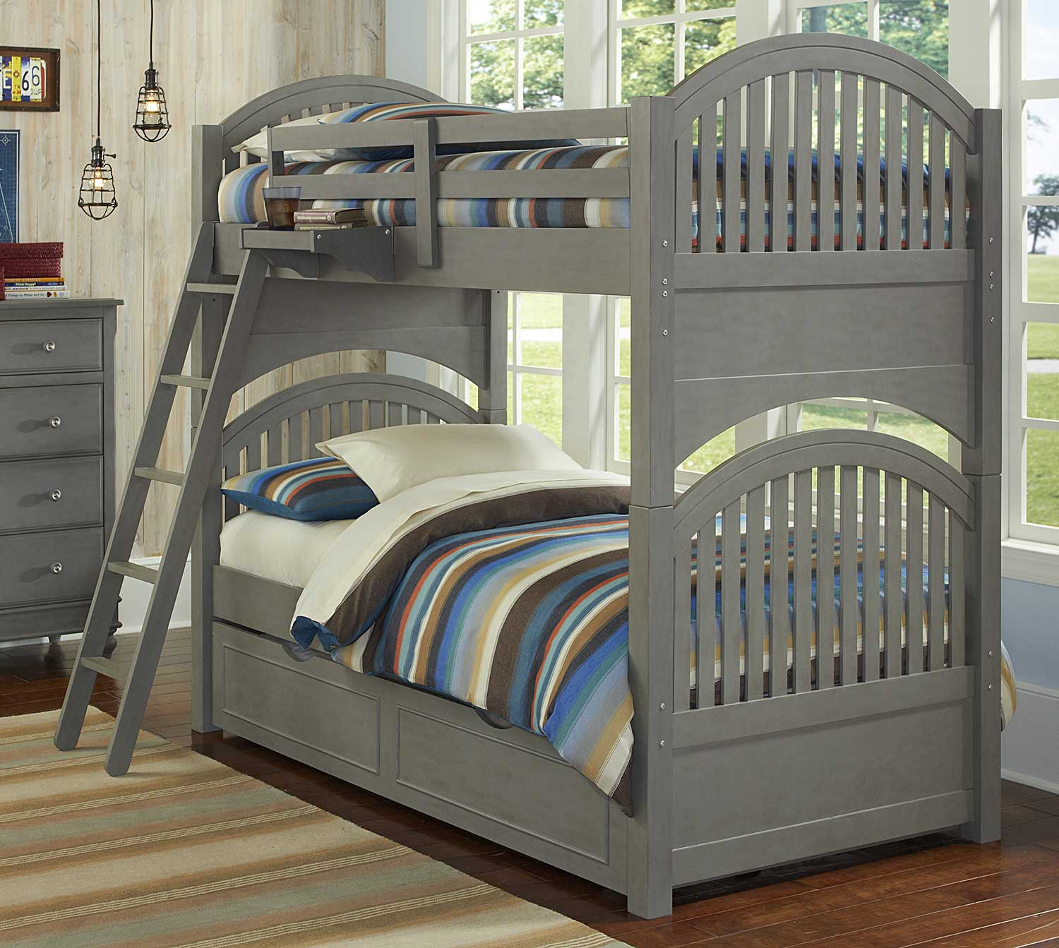 NE Kids Lake House Adrain Twin Over Twin Bunk With Trundle - Stone