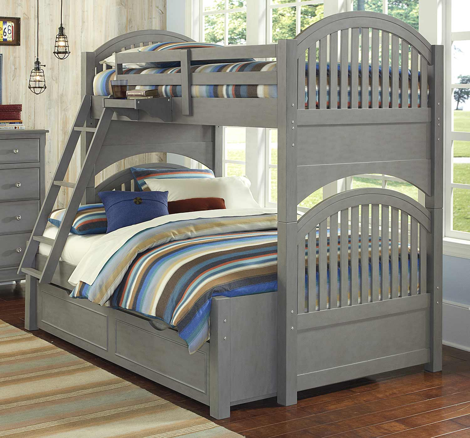 NE Kids Lake House Adrian Twin Over Full Bunk With Trundle - Stone