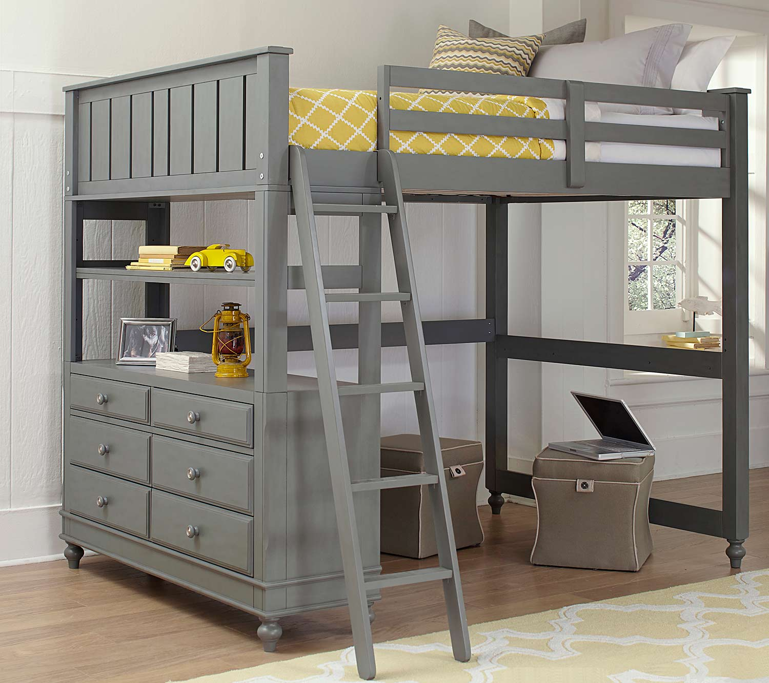 NE Kids Lake House Loft Bed - Stone