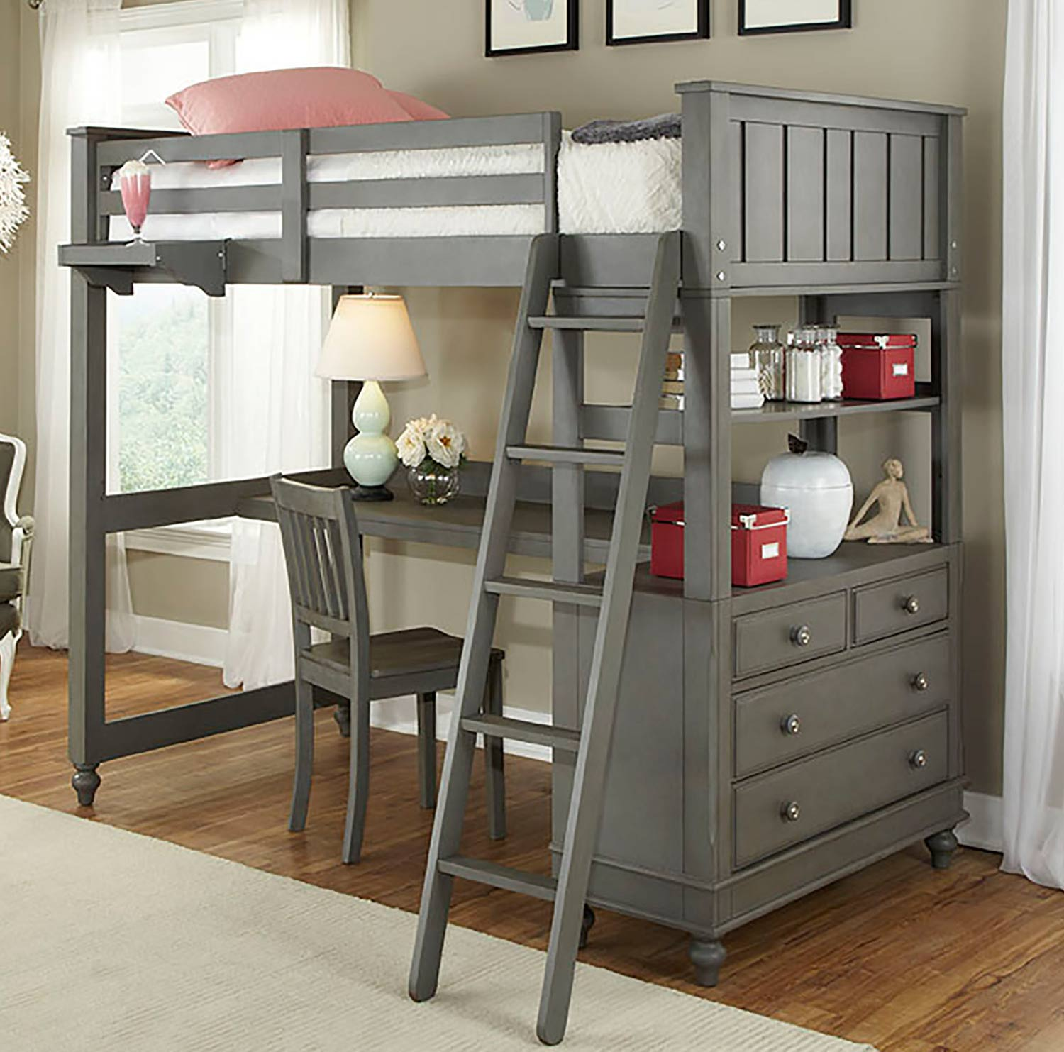 NE Kids Lake House Loft Bed with Desk - Stone