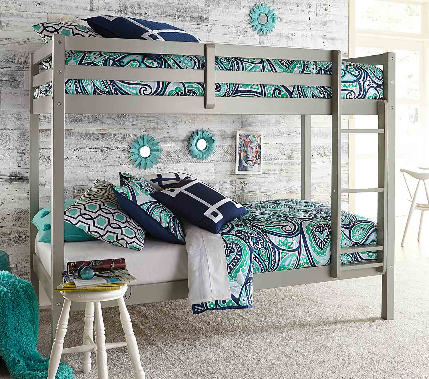 Hillsdale Caspian Twin Over Twin Bunk Bed - Gray