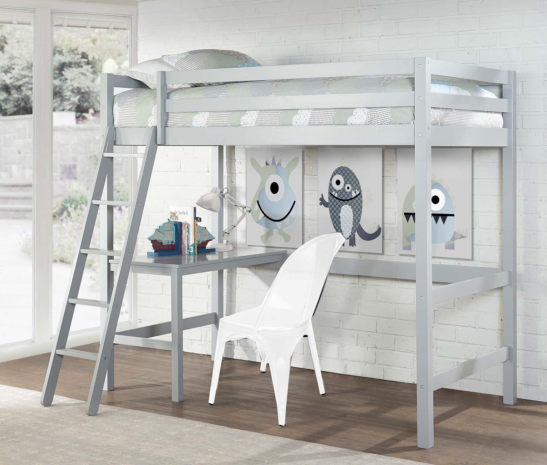 Hillsdale Caspian Twin Study Loft Bed - Gray