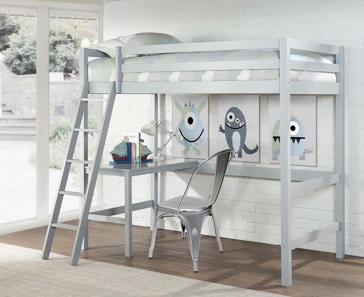 Hillsdale Caspian Twin Study Loft Bed With Chair - Gray
