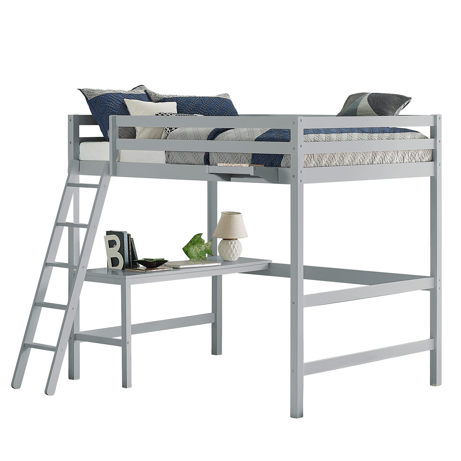 Hillsdale Caspian Full Loft Bed with Hanging Nightstand - Gray