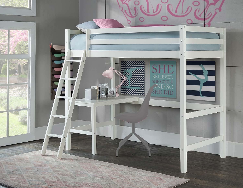 Hillsdale Caspian Twin Study Loft Bed - White