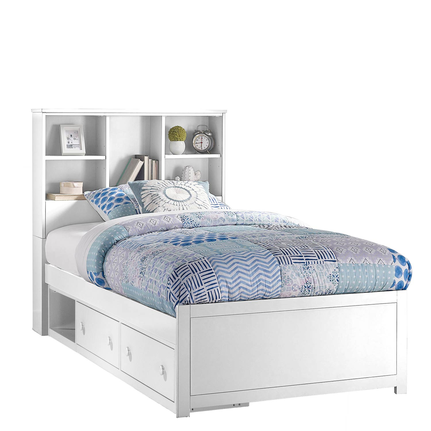 Hillsdale Caspian Twin Bookcase Bed with Storage Unit - White