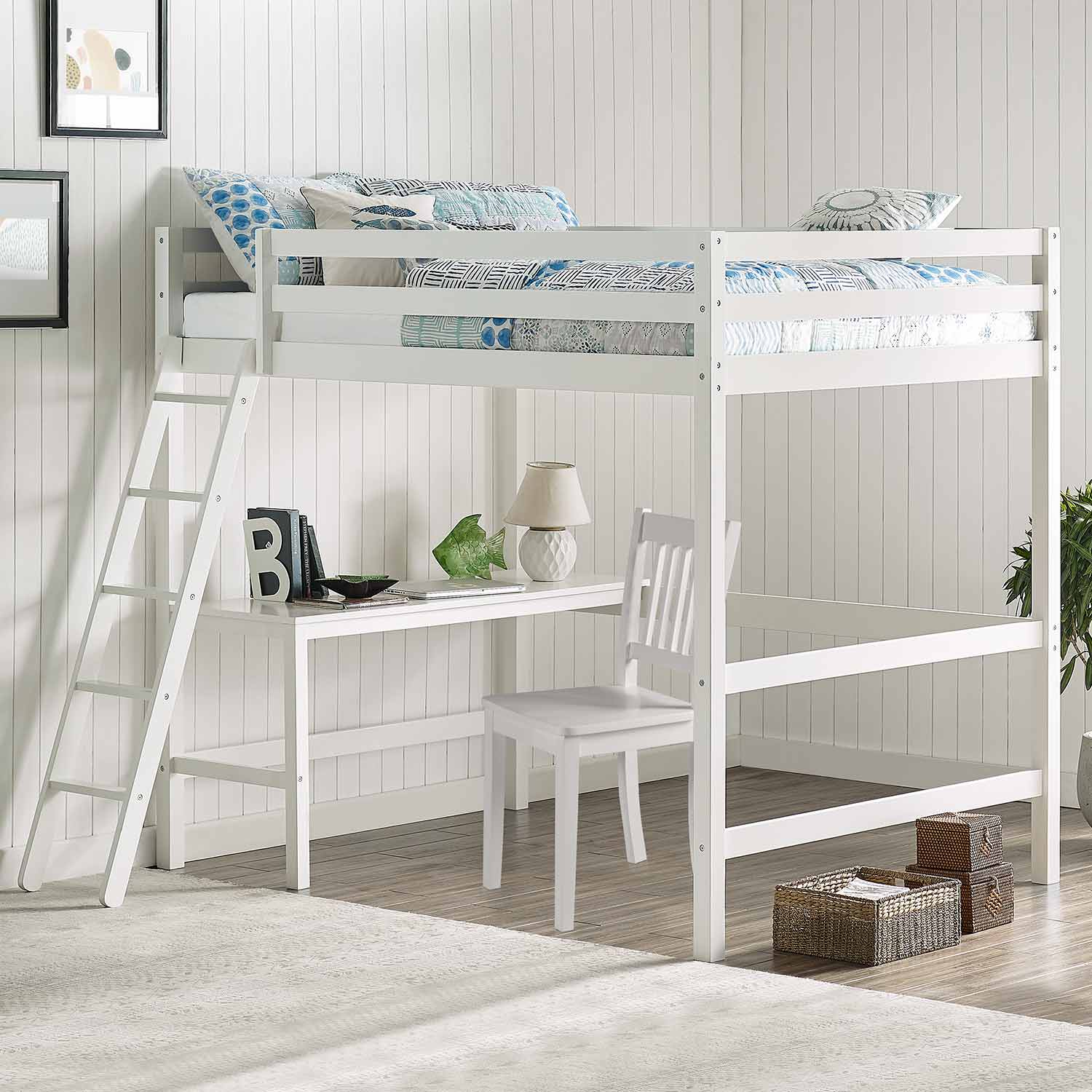 Hillsdale Caspian Full Loft Bed with Chair - White