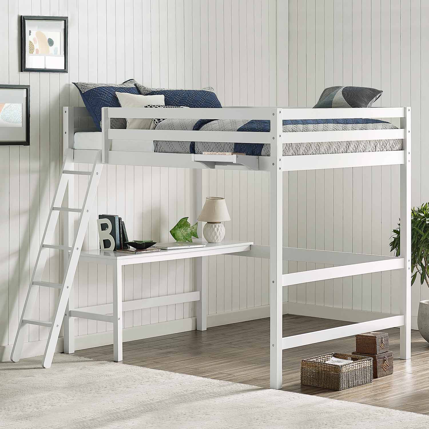 Hillsdale Caspian Full Loft Bed with Hanging Nightstand - White