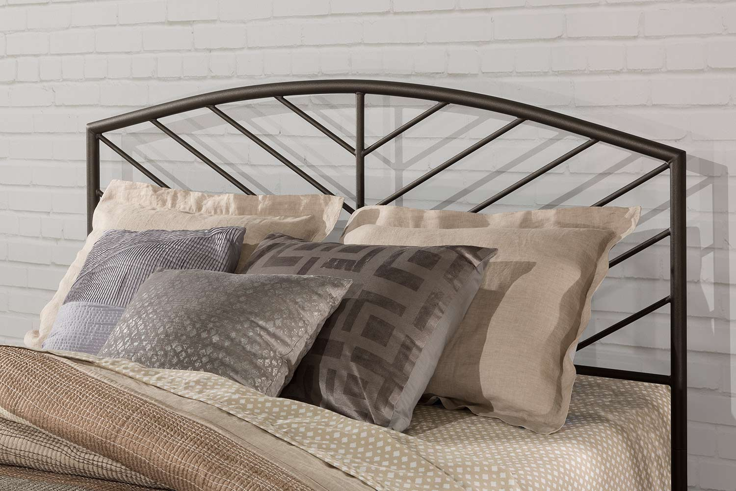 Hillsdale Essex Metal Headboard with Frame - Speckled Pewter