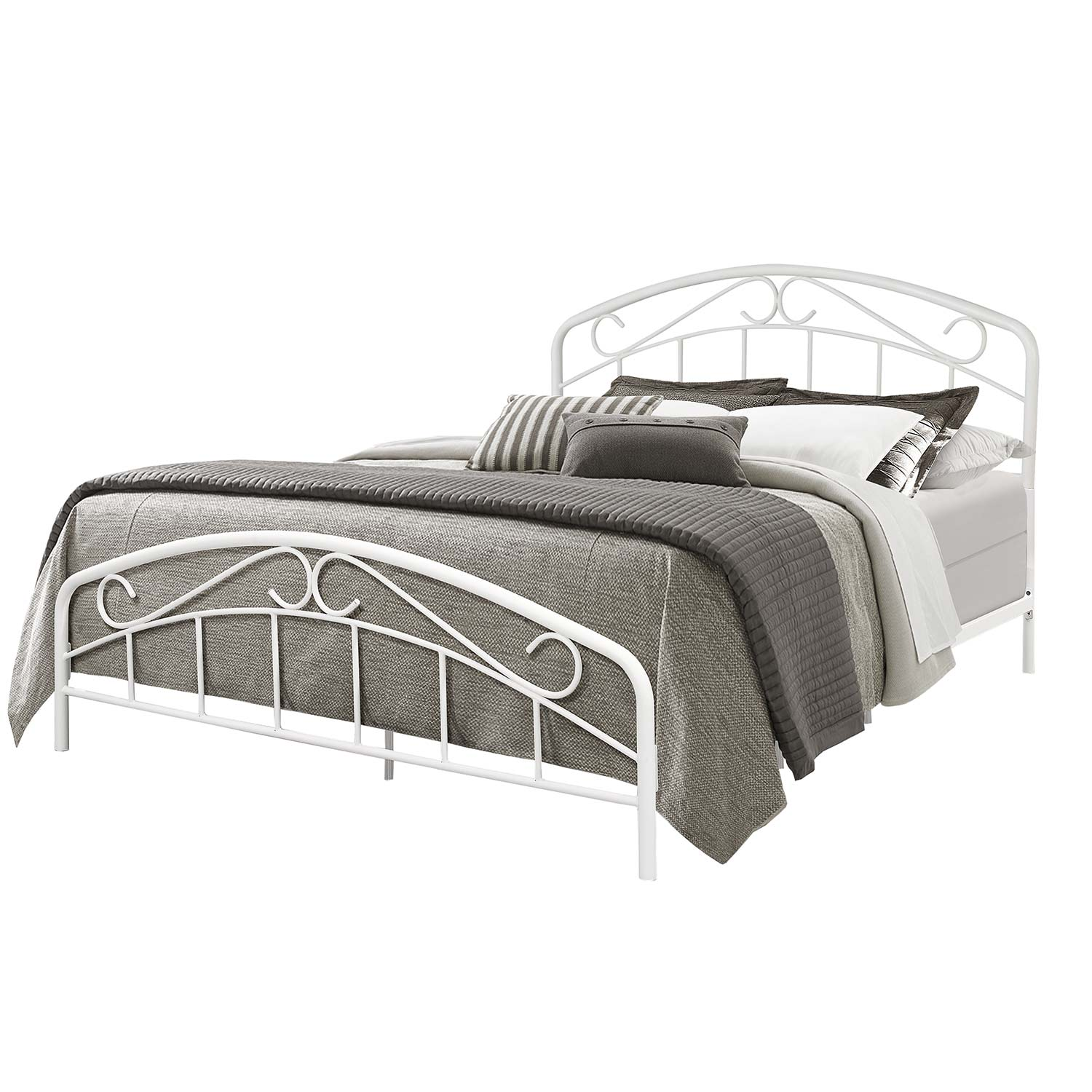 Hillsdale Jolie Metal Bed with Arched Scroll Design - Textured White