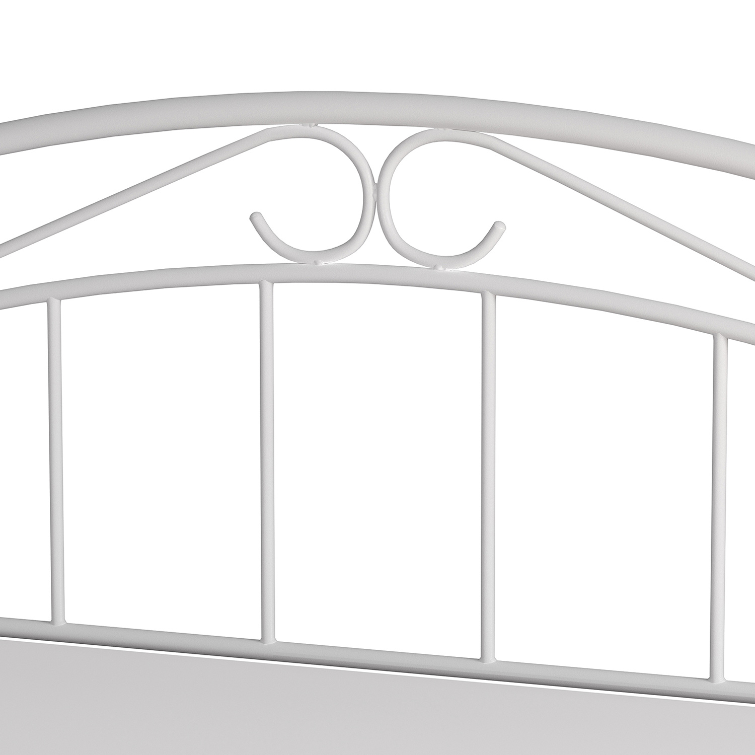 Hillsdale Jolie Metal Headboard with Arched Scroll Design - White