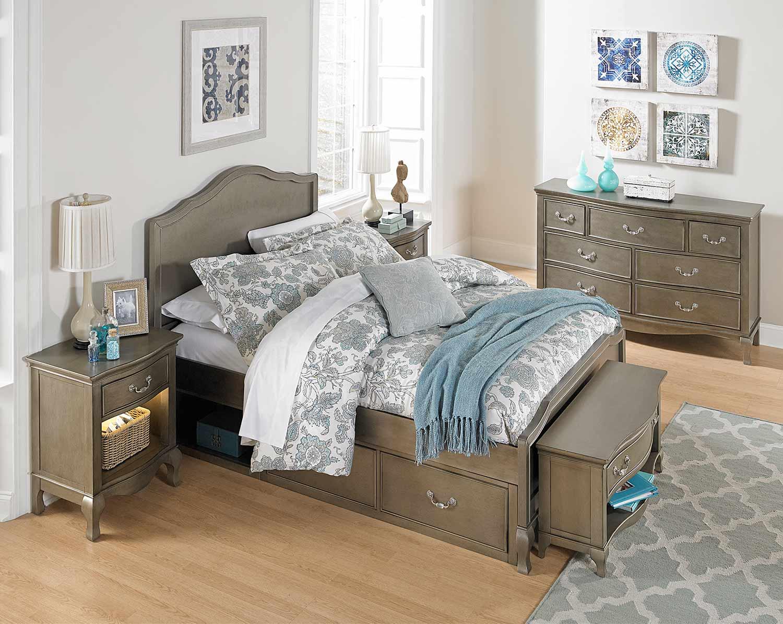 NE Kids Kensington Charlotte Panel Bedroom Set With Storage - Antique Silver