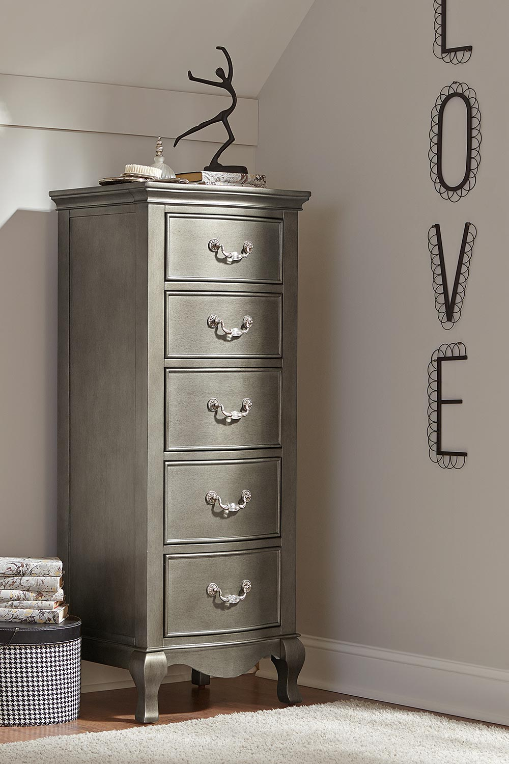NE Kids Kensington 5 Drawer Tall Chest - Antique Silver