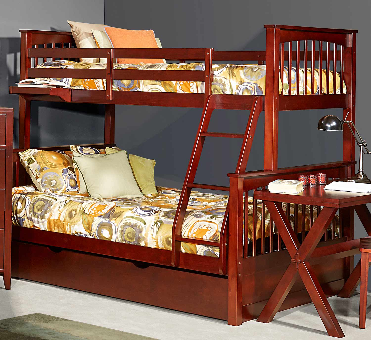 NE Kids Pulse Twin Over Full Bunk With Trundle - Cherry