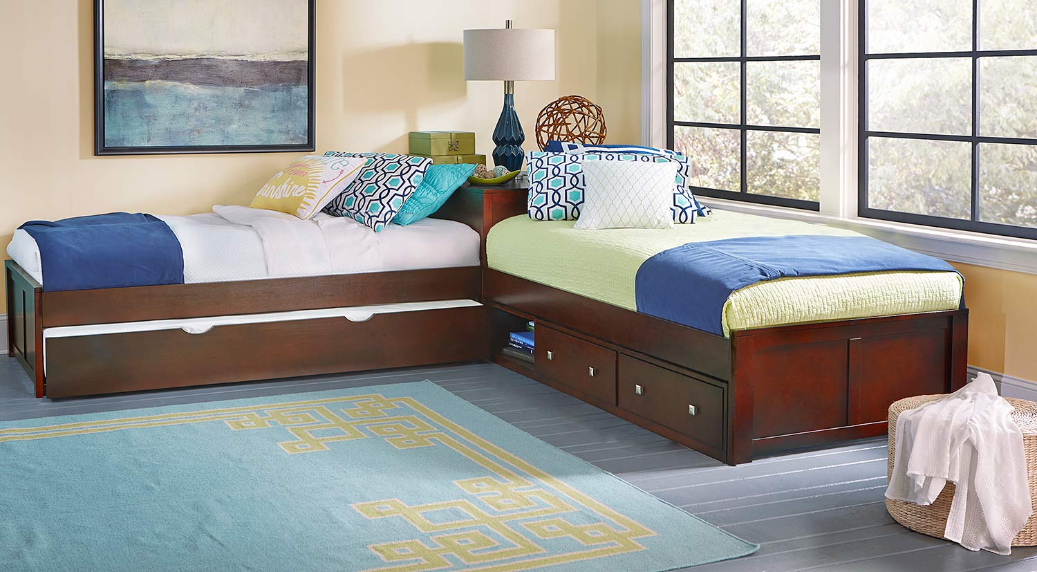 NE Kids Pulse L-Shaped Bed With Storage and Trundle - Cherry