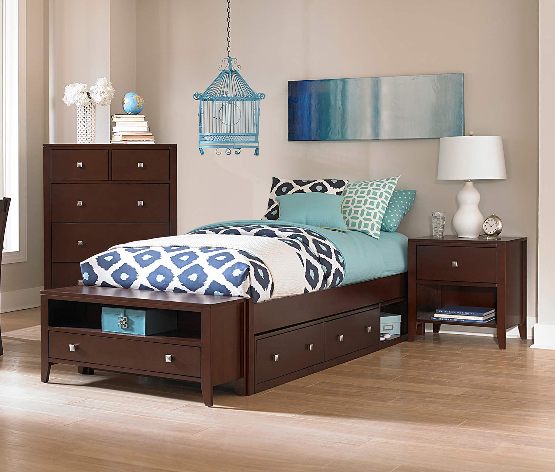 NE Kids Pulse Platform Bedroom Set With Storage - Chocolate
