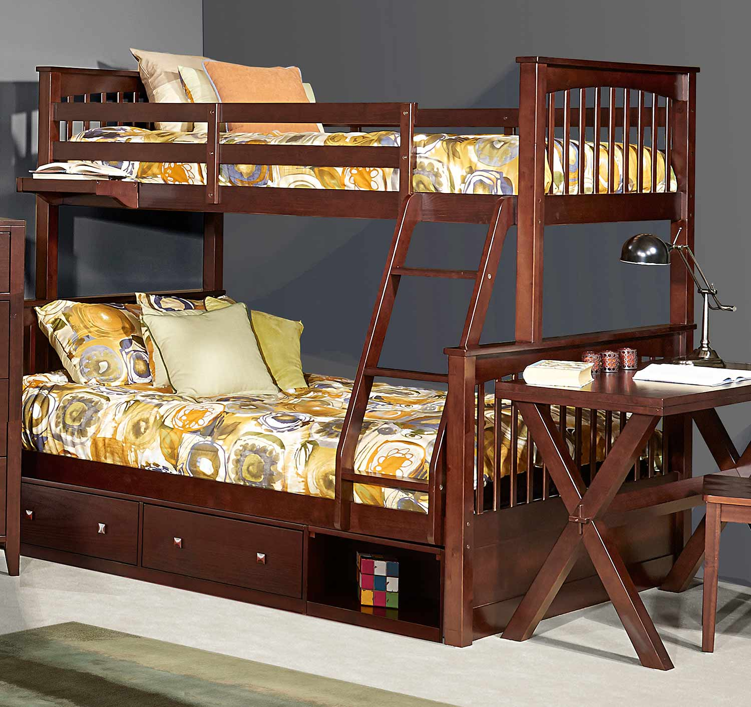 NE Kids Pulse Twin Over Full Bunk With Storage - Chocolate
