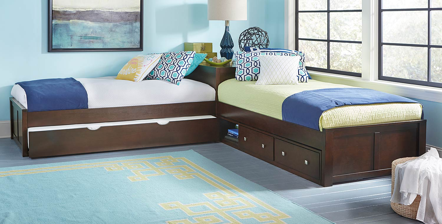 NE Kids Pulse L-Shaped Bed With Storage and Trundle - Chocolate