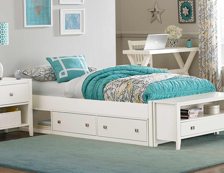 NE Kids Pulse Platform Bed With Storage - White