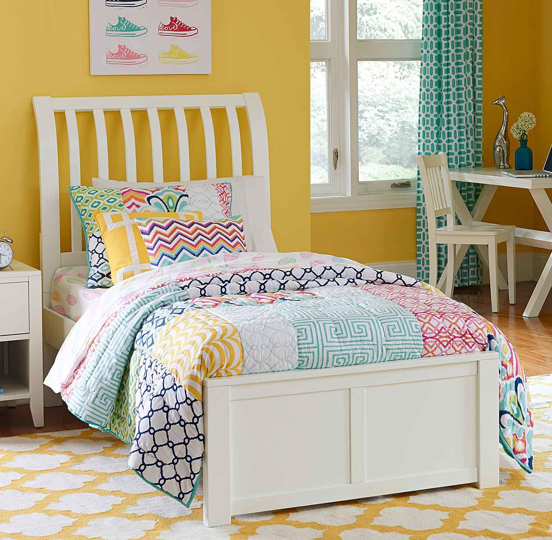 NE Kids Pulse Rake Sleigh Bed - White