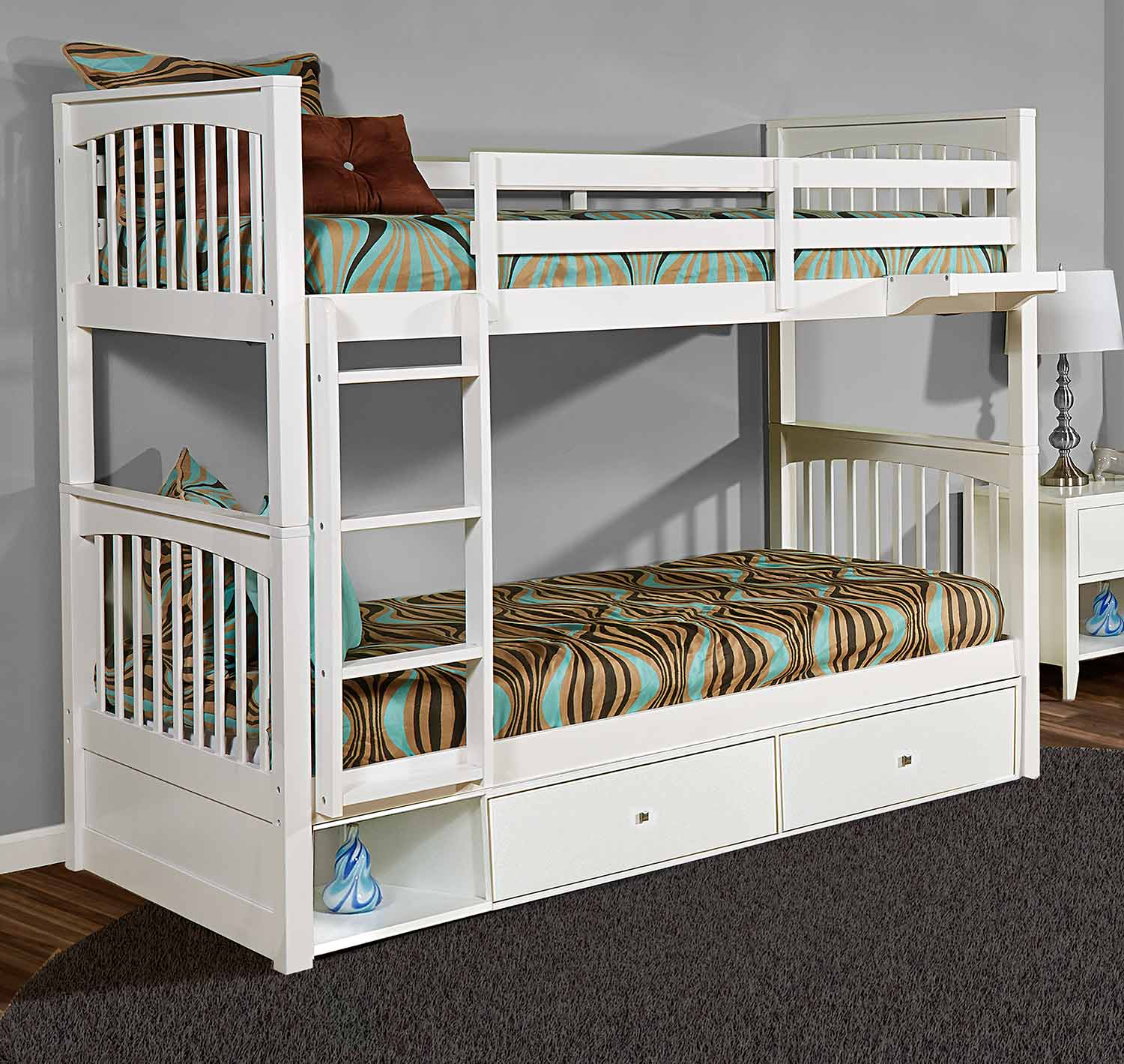 NE Kids Pulse Twin Over Twin Bunk With Storage - White