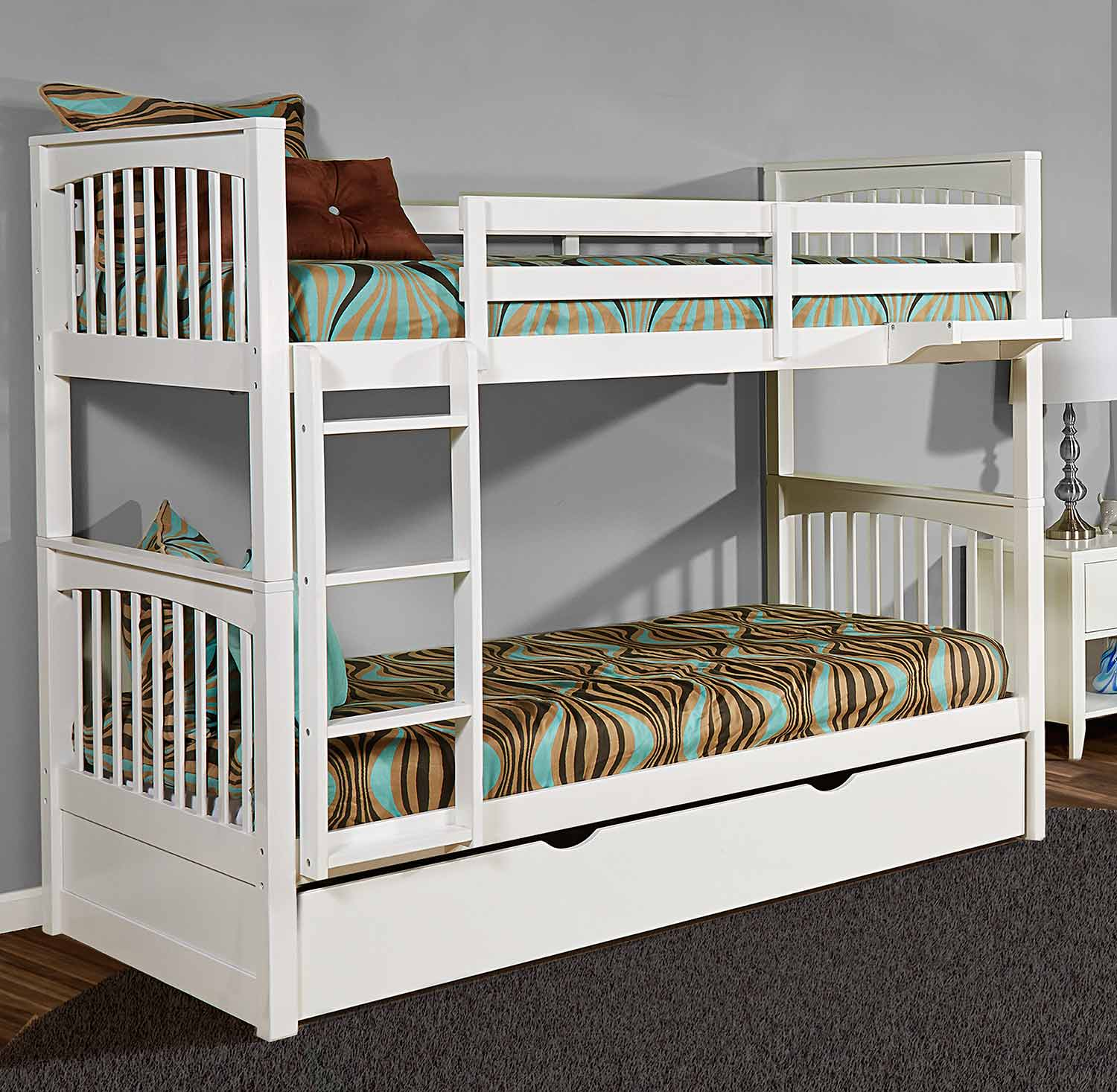 NE Kids Pulse Twin Over Twin Bunk With Trundle - White