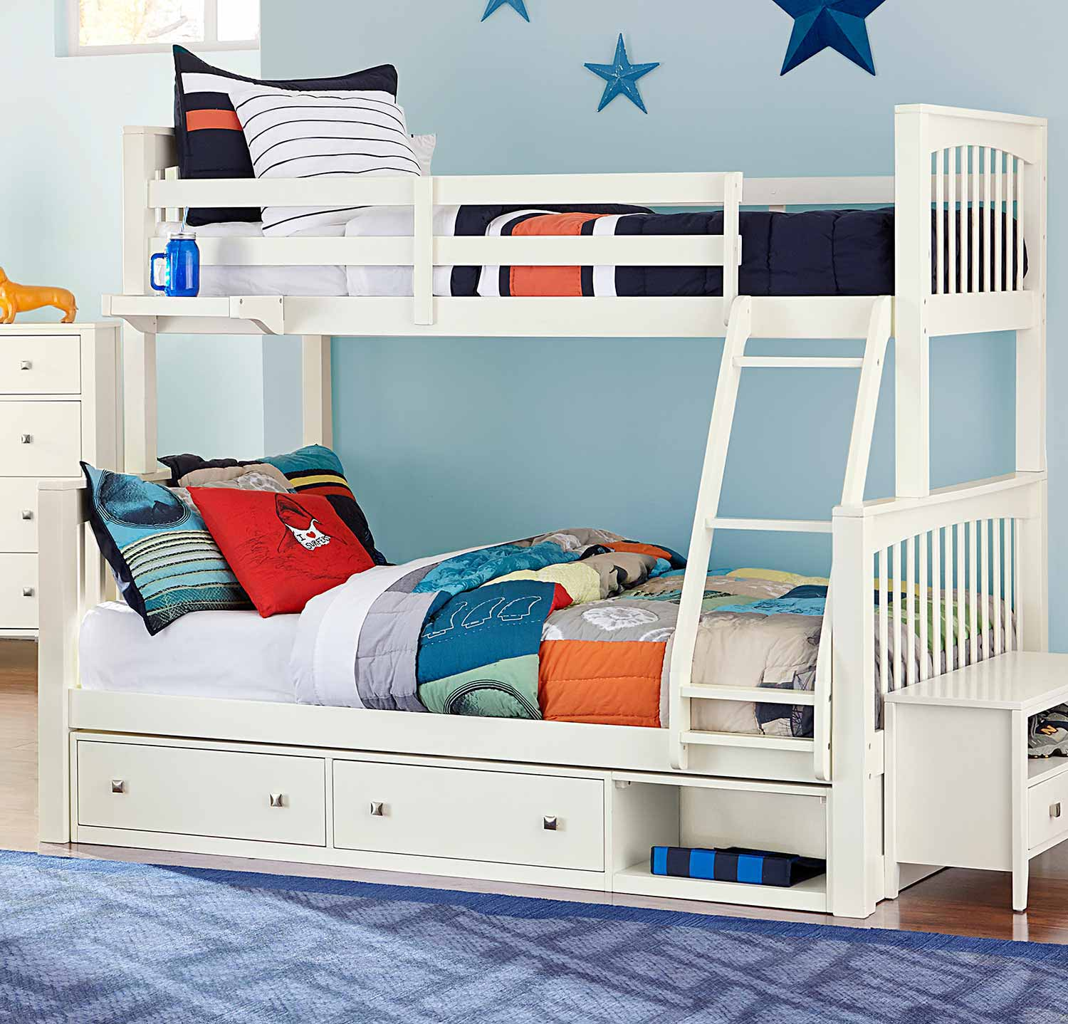 NE Kids Pulse Twin Over Full Bunk With Storage - White