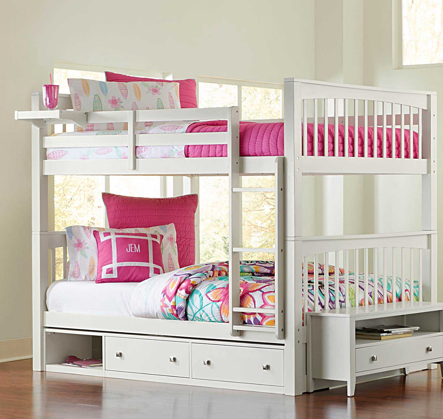 NE Kids Pulse Full Over Full Bunk With Storage - White