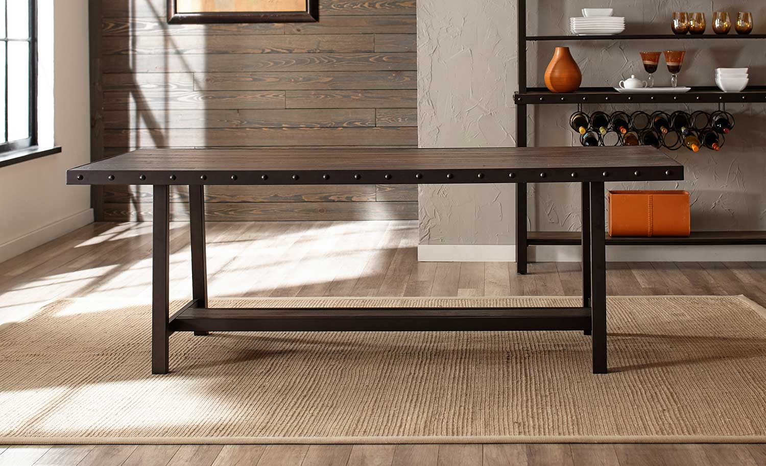 Hillsdale Jennings Rectangle Dining Table - Walnut Wood/Brown Metal