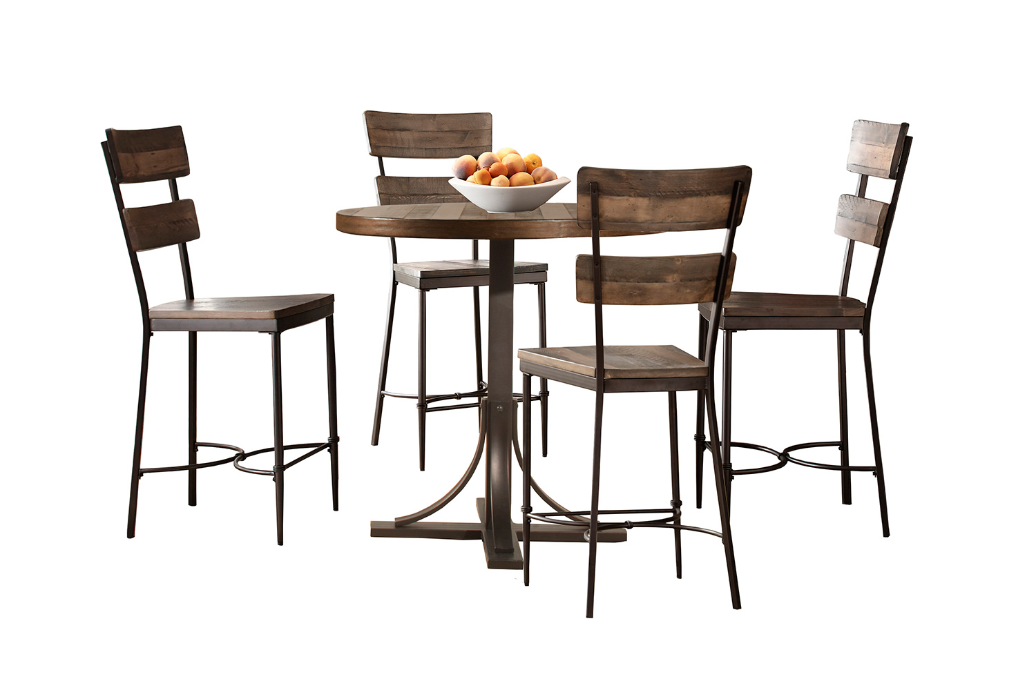 Hillsdale Jennings 5 Piece Counter Height Dining Set with Non-Swivel Counter Height Stools - Walnut Wood/Brown Metal