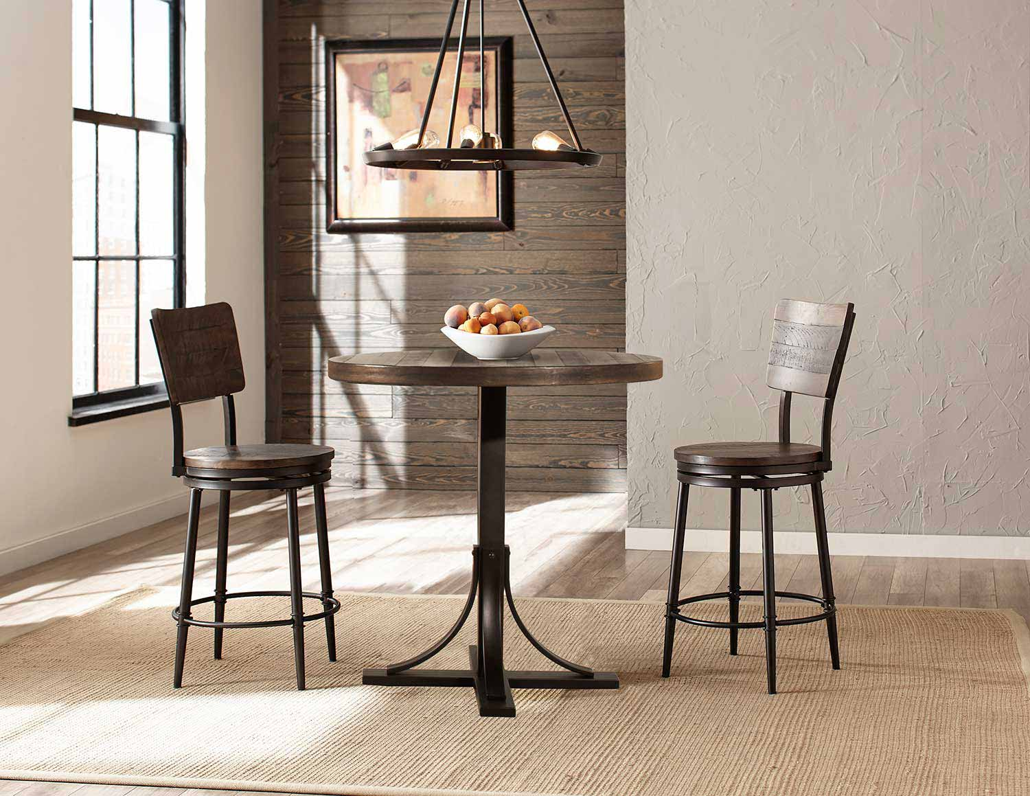 Hillsdale Jennings 3 Piece Counter Height Dining Set with Swivel Counter Height Stools - Walnut Wood/Brown Metal