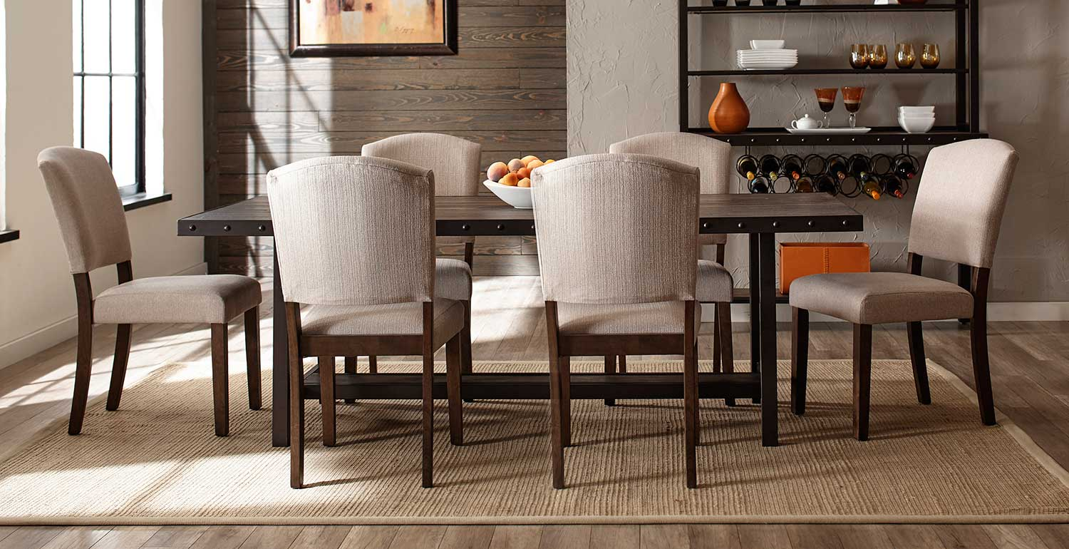 Hillsdale Jennings 7-Piece Dining Set with Emerson Chairs - Walnut Wood/Brown Metal
