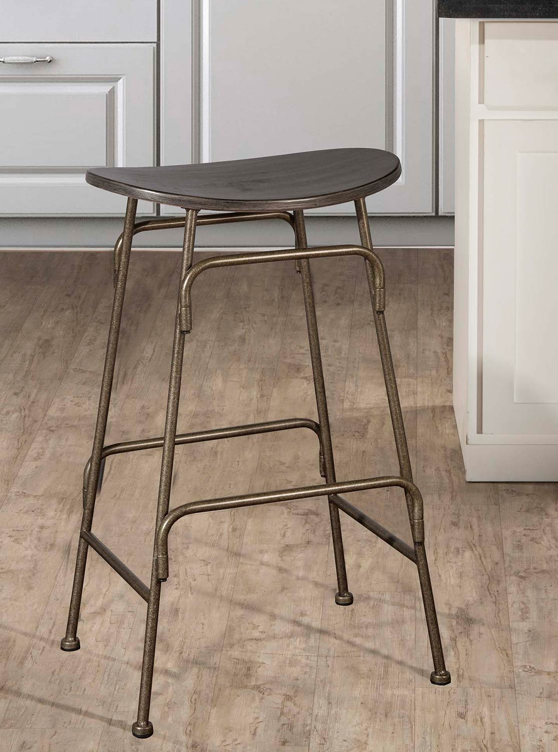 Hillsdale Mitchell Non-Swivel Backless Counter Stool - Black Wood/Bronze Metal