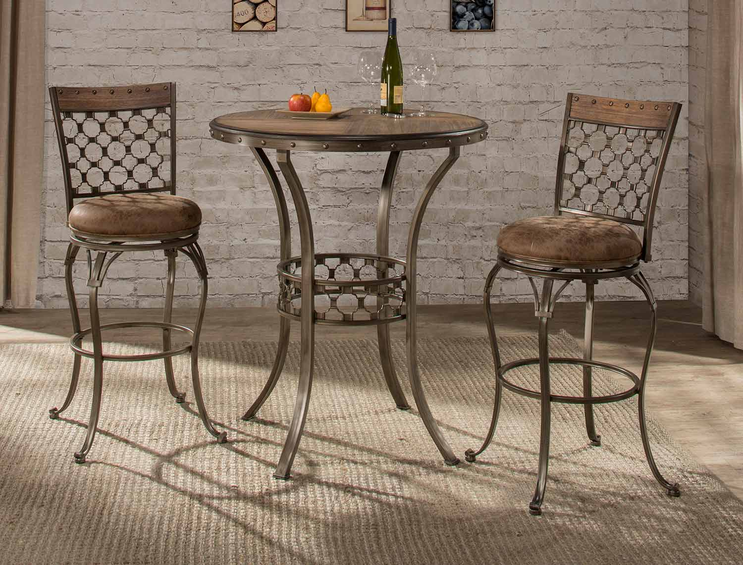 Hillsdale Lannis 3-Piece Bar Height Bistro Dining Set - Brown/Grey