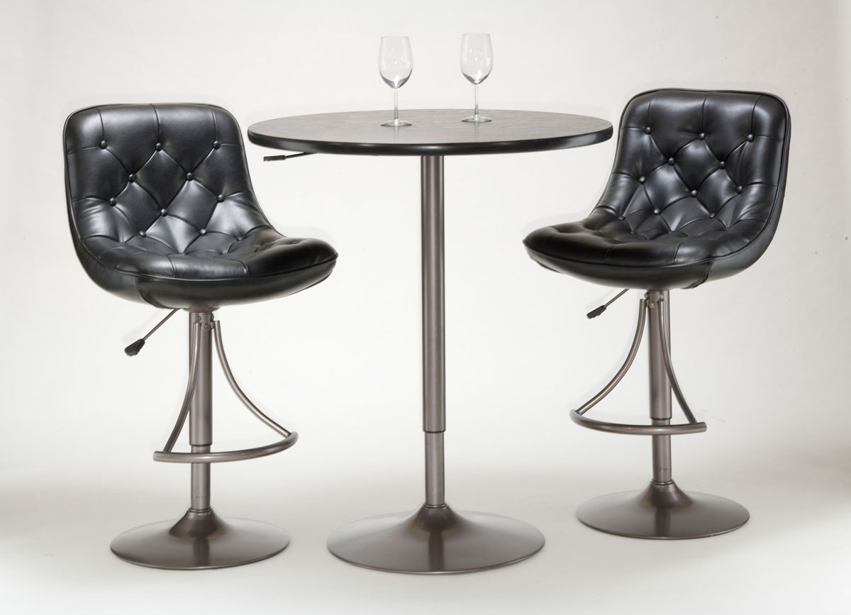 Hillsdale Aspen 3-Piece Adjustable Table and Bar Stool Set - Oyster Grey