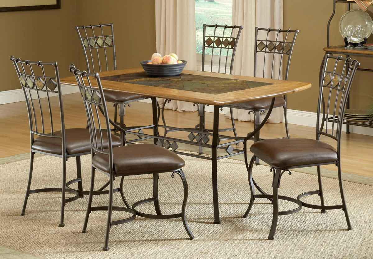 Hillsdale Lakeview Rectangle Dining Set With Slate Chair 4264DTBRTCS7 Homel