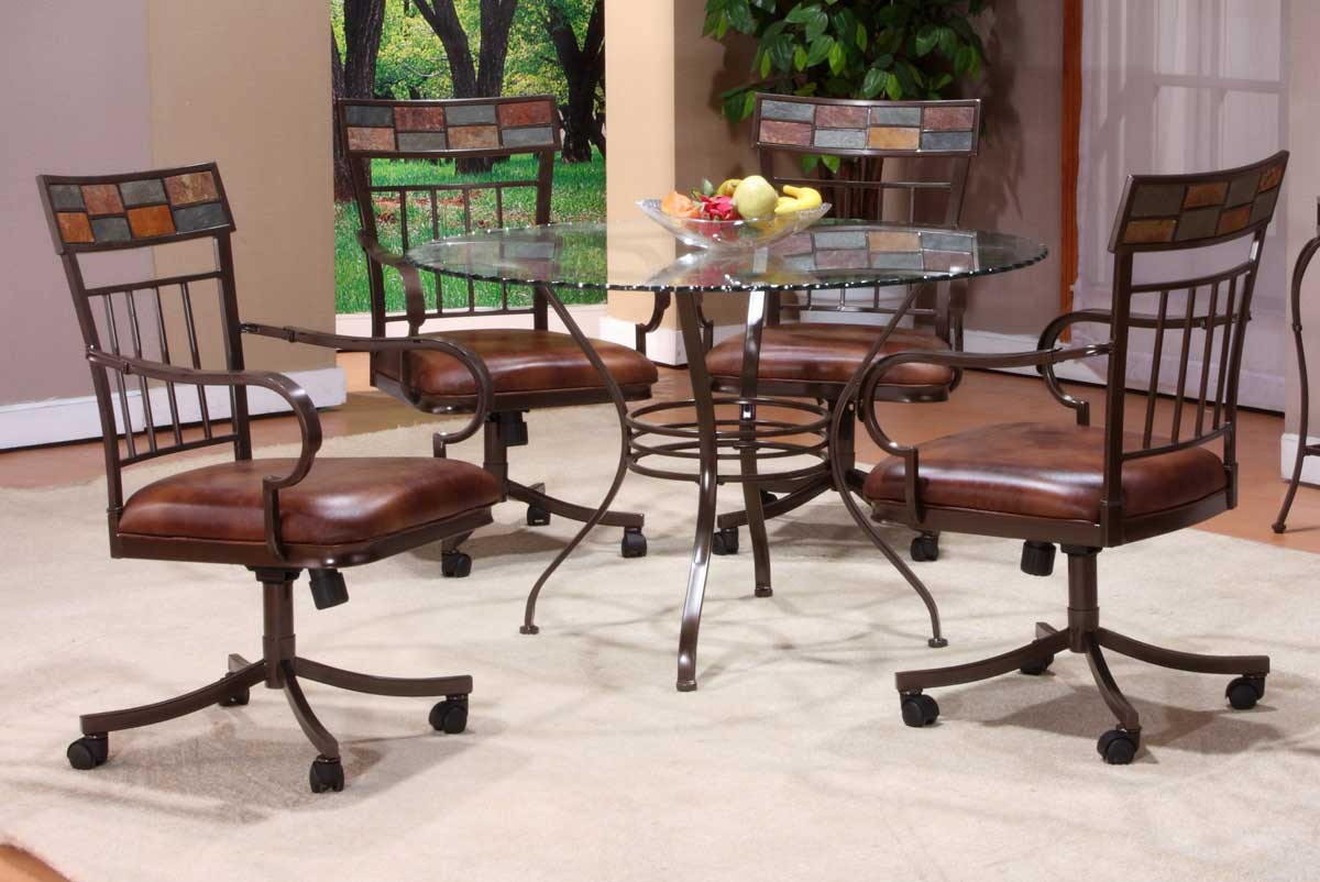 Hillsdale Montero Round Dining Set with Glass Top