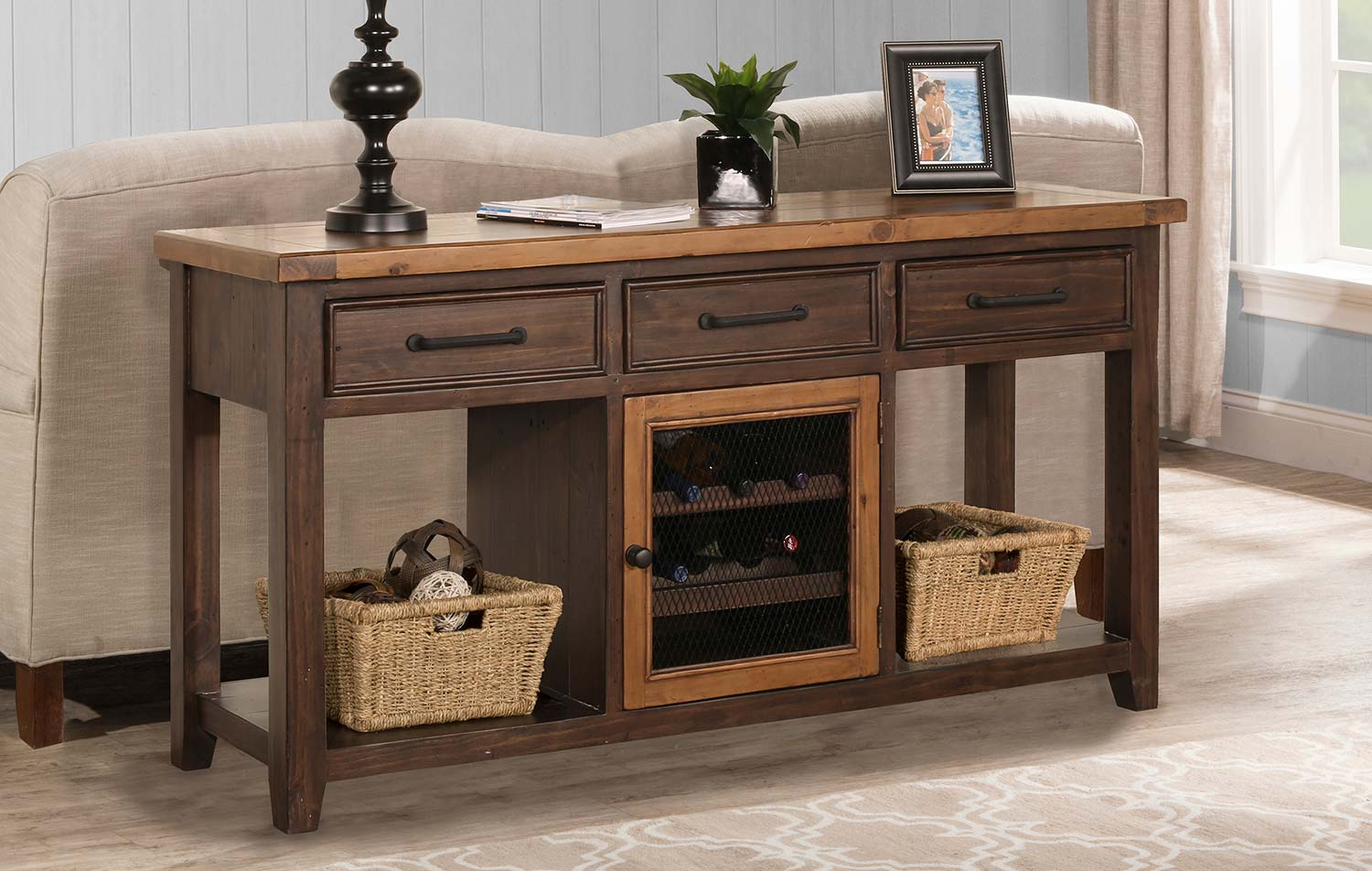 Sofa Table With Wine Rack And 2 Basket